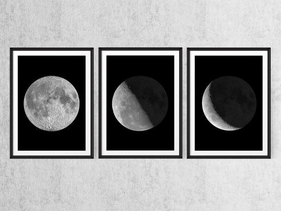 Printable set of 3 print moon phases art print wall art prints moon art moon poster large printable posters 24x30