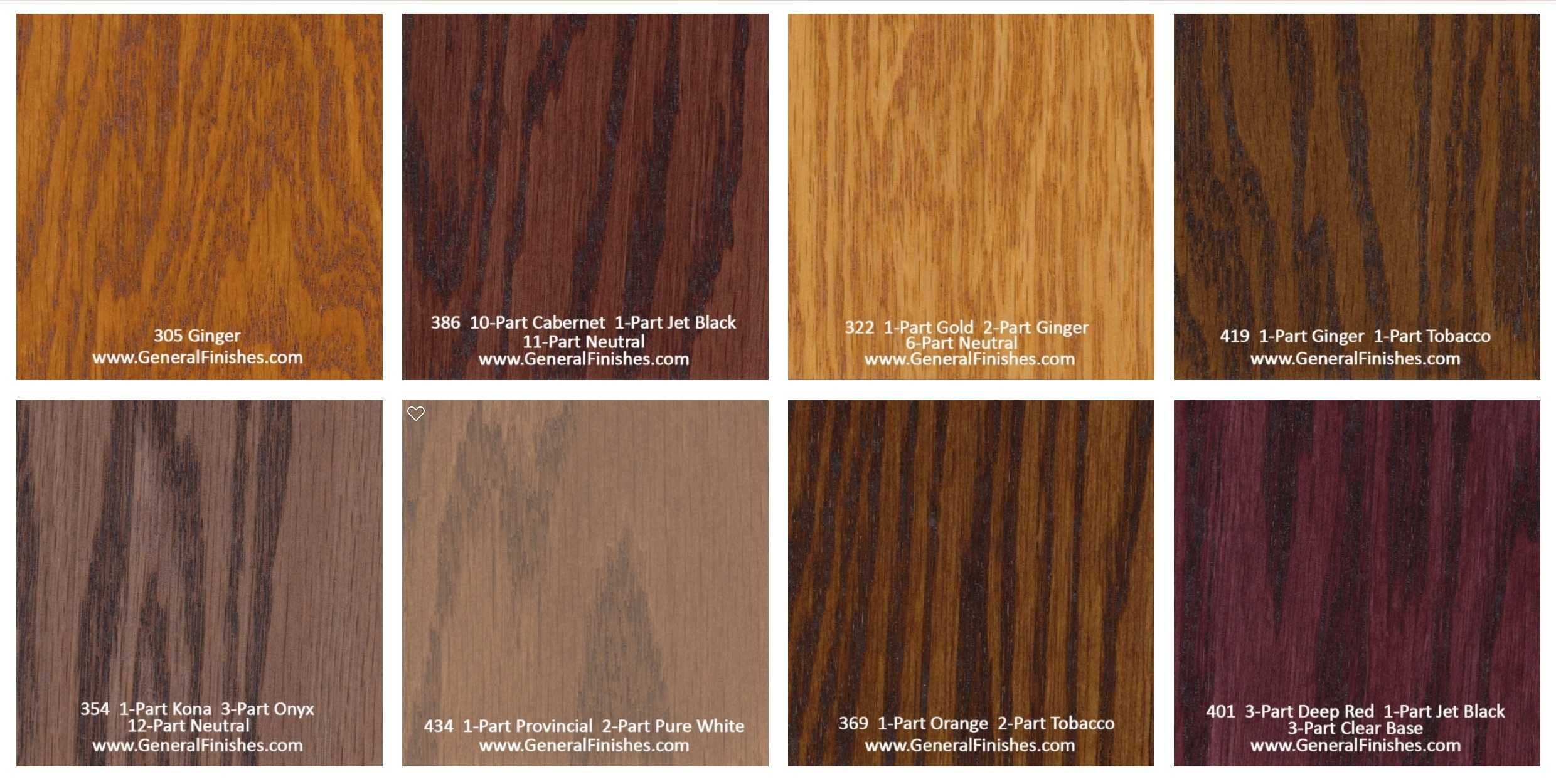 General Finishes Pro Floor Stain® Color Swatch / Chart for