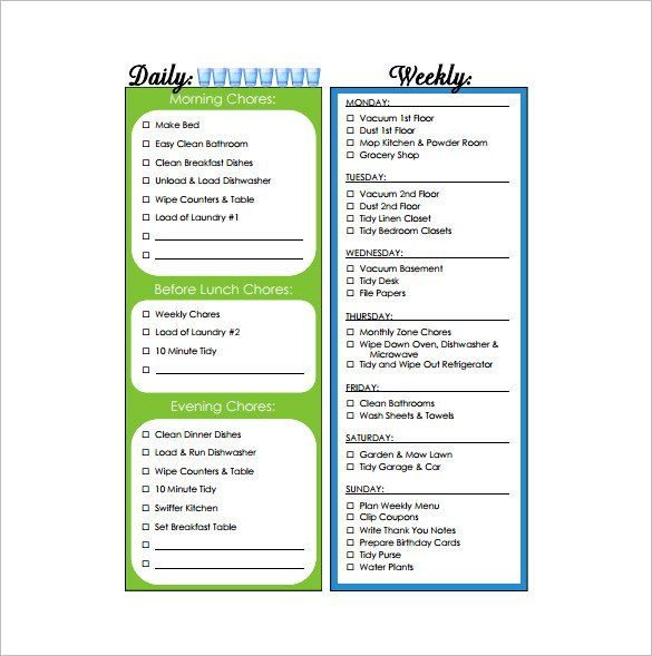 Household Weekly Chore Chart Free , How to Make Good Schedule - chore list template