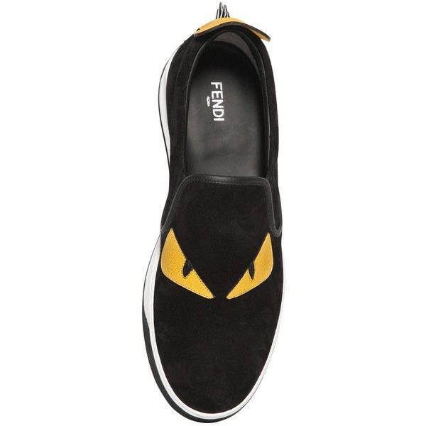43f8d74884cc Fendi Men Monster Patches Suede Slip-on Sneakers ( 595) ❤ liked on Polyvore  featuring men s fashion