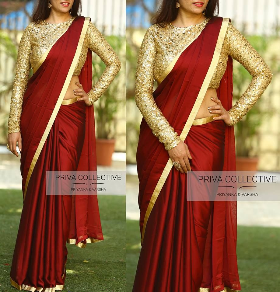 857c365fc3d2de 16 Awesome Ways To Wear Plain Sarees With Heavy Blouse