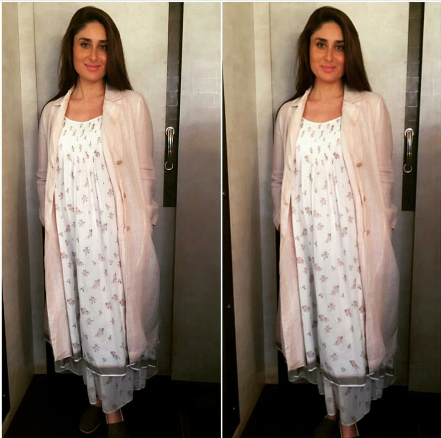 4e0f275a19c98 Kareena Kapoor wearing white dress with baby pink over coat by Ekaco ...