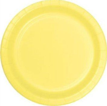 "Custom & Unique {7"" Inch} 24 Count Bulk Multi-Pack Set of Medium Round Circle Disposable Paper Plates w/ Elegant and Fun Springtime Decor Modern Spring House Party Theme ""Bright Yellow Colored"""