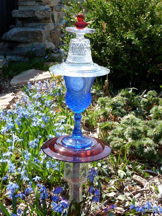 Glass Garden Art by NorahsGate on Etsy, $37.00   Glass ...