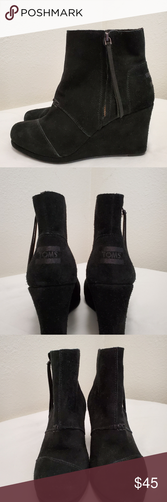 TOMS WEDGES BLACK TOMS wedges black size 8 like new. Toms Shoes Ankle Boots & Booties #tomwedges TOMS WEDGES BLACK TOMS wedges black size 8 like new. Toms Shoes Ankle Boots & Booties #tomwedges