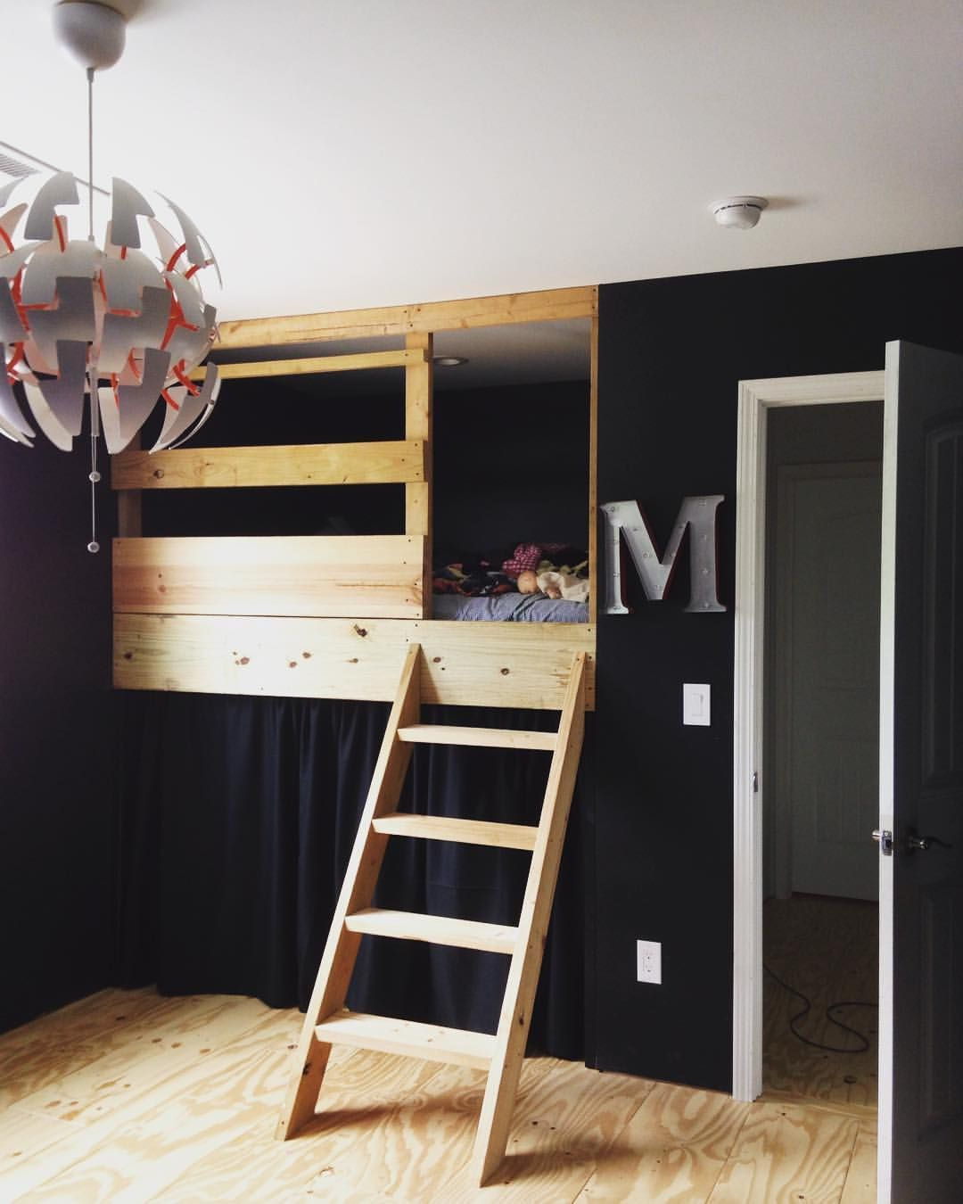 Loft Bed With Closet Underneath: We Built In A Full Size Loft Bed Into Where The Closet