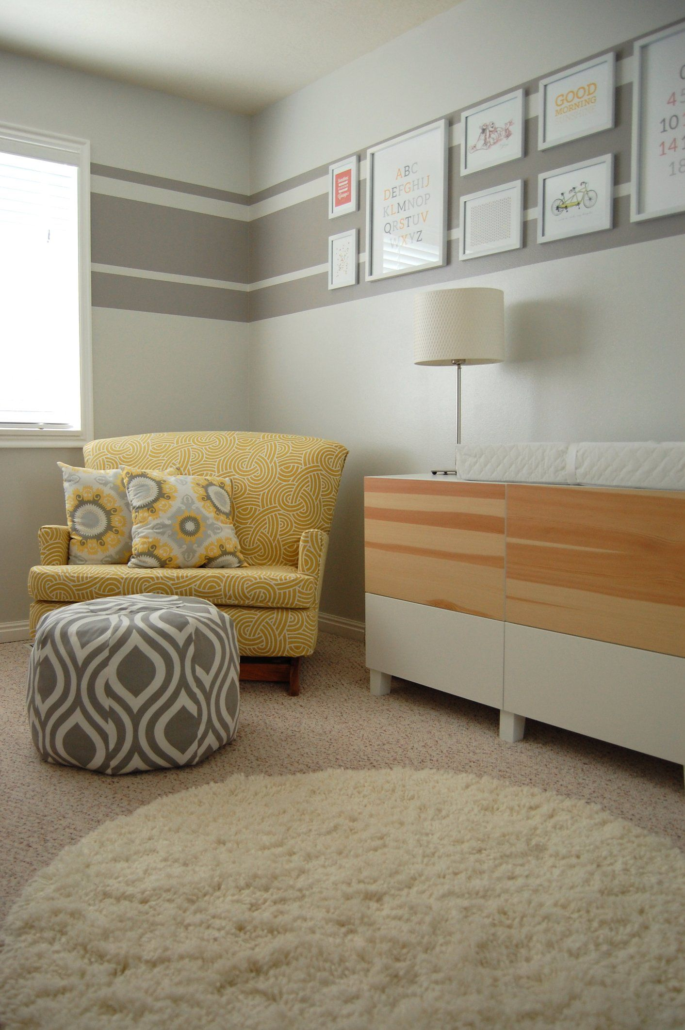 "A Soothing Modern Nursery for Baby ""A"" #graystripedwalls"