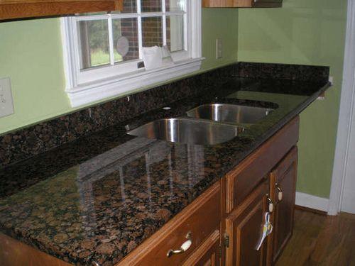 Dark Baltic Brown Granite Countertop With Sink Granite Granite Countertops And Aqua Kitchen