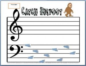 """Super fun bass clef worksheet that comes with a fun activity. Kids have to be able to name their notes FAST to """"catch Bigfoot"""". You can print it for free!"""