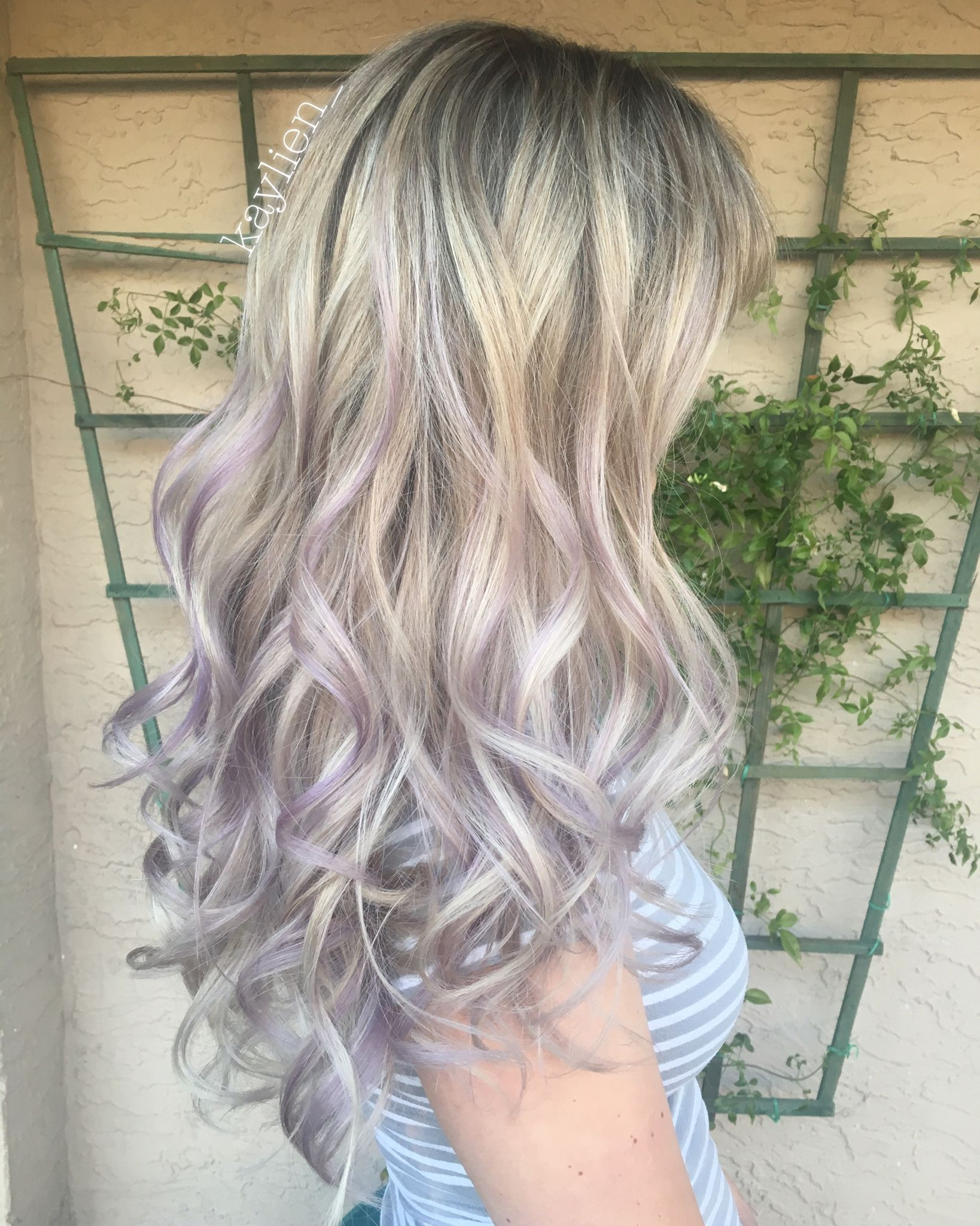 Icy Highlight With Smokey Lavender Ends Hair Color Pastel Icy Blonde Hair Long Hair Styles