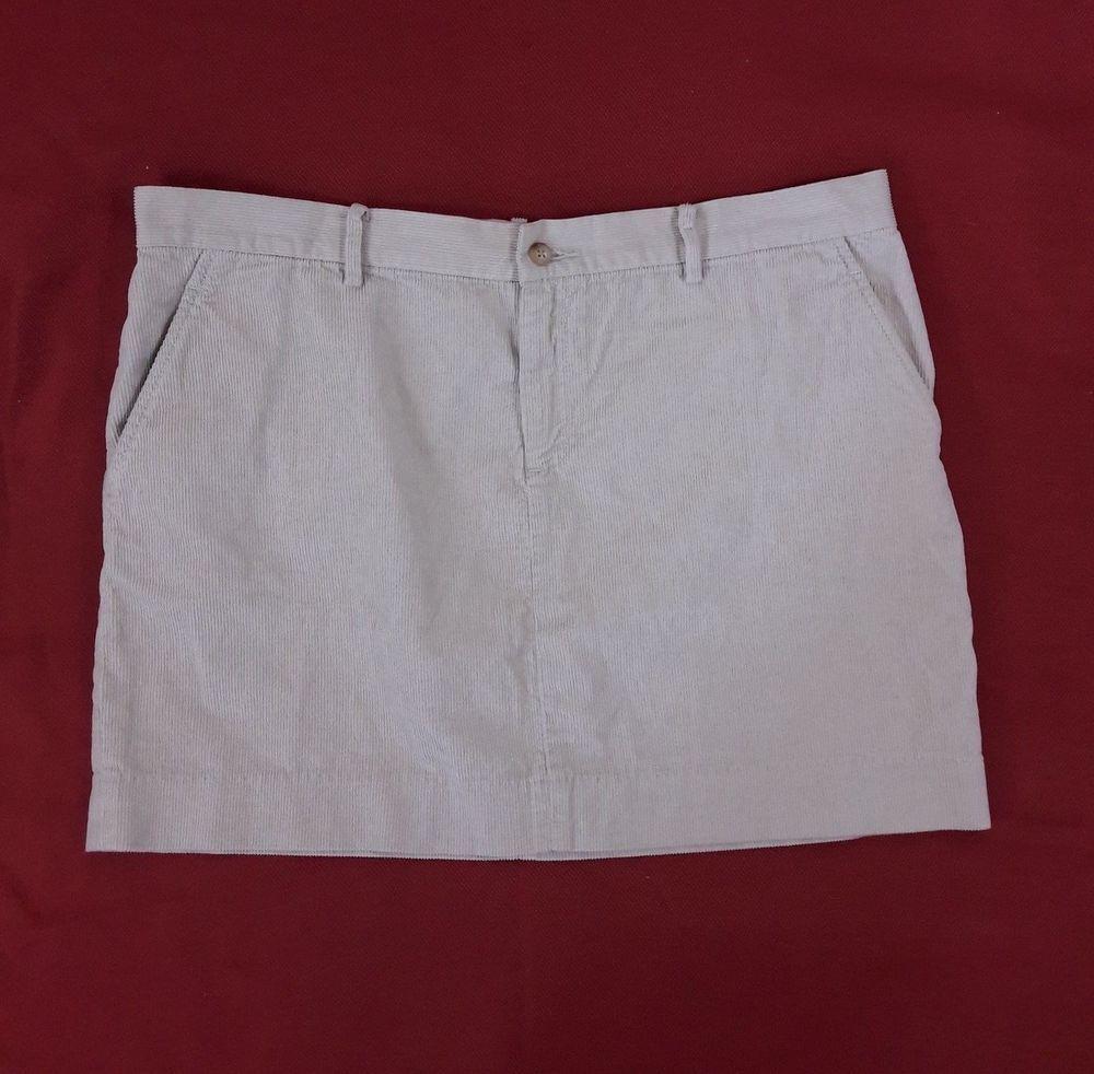Ralph Lauren Sport Womens Corduroy Winter Mini Skirt Beige Tan Sz 14 4 Pockets #RalphLauren #Mini