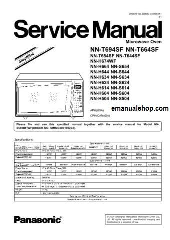 Panasonic Microwave Oven Nnt694sf Service Manual