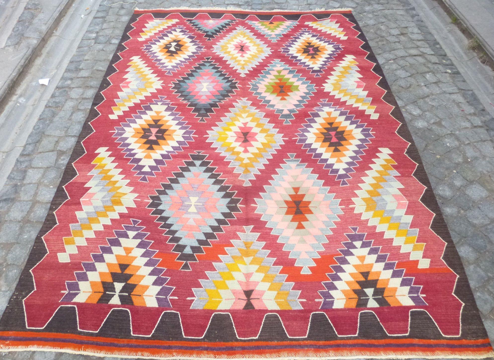 8,39 x 5,74 feet, Colorful Bohemian kilim rug with Diamond pattern