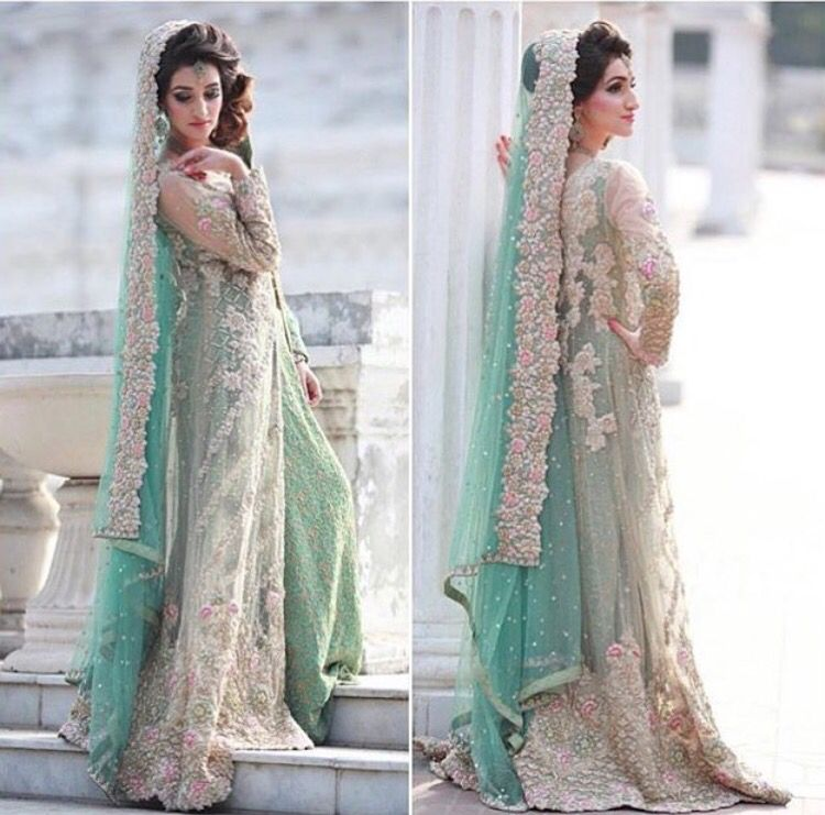 Floral mint Pakistani bridal