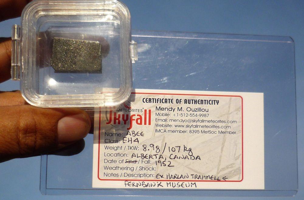Meteora Mobili ~ 8.9 gram abee meteorite slice eh4 1952 alberta canada fall