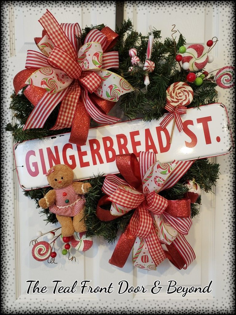 Pine Wreath With Metal Gingerbread Sign Christmas
