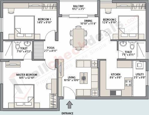 3 Bhk Residential Flat Floor Plan Apartment Floor Plans Bungalow Floor Plans Cafe Floor Plan