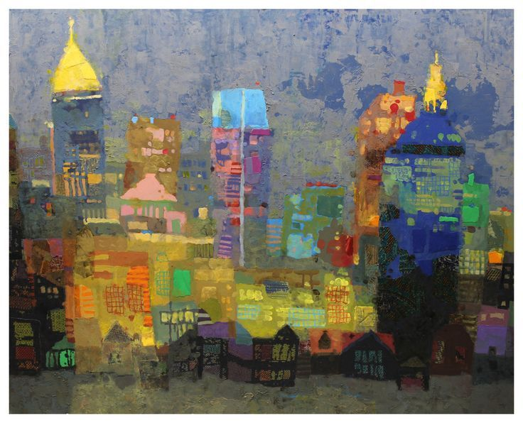 ABSTRACT TOWN 34 BY MARK ENGLISH. Color and shapes dance across the canvas in a semi abstract painting of buildings!! #buildings #art SEE MORE ART NOW www.richard-neuman-artist.com