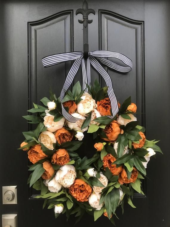 Spring Peony Wreaths, Coffee and Cream Peony Wreaths, Interior Decor Wreaths, Summer Wreath, Trending Year Round Wreaths, Etsy Burnt Orange #fallwreaths