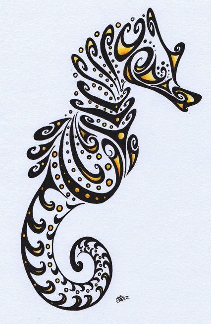 How to draw a seahorse spiral sea horse by apox0n on for How to draw a simple seahorse