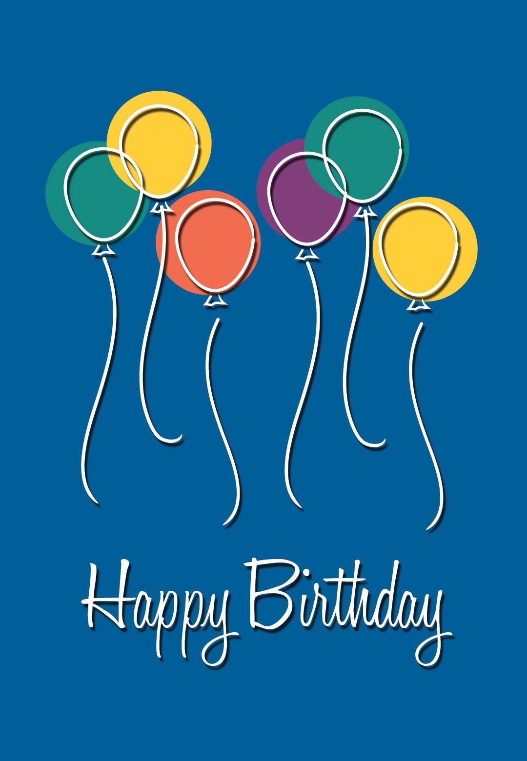 Free printable birthday balloons greeting card happy