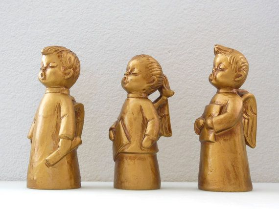 "Singing Choir Angel Figurines  Gold Choir Angels 3 pc SET HF Co JAPAN (mine are not gold-faces are painted ""realistically"")"