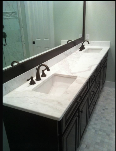 White Marble And Black Painted Wood For A Stark Contrast Bathroom Countertops Granite Bathroom Countertops White Granite Bathroom