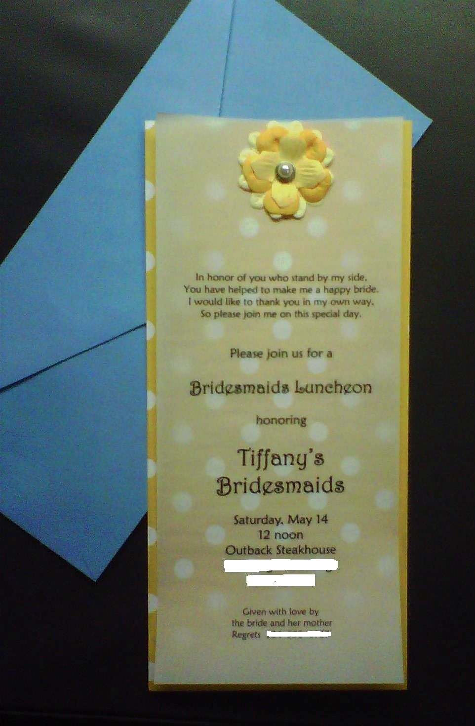 how to return address wedding envelopes%0A Bridesmaids luncheon invitationssimple and low cost