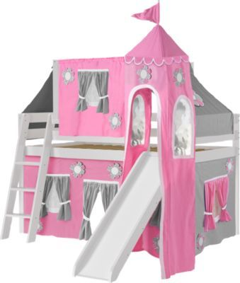 Pink Cottage White Jr Tent Loft Bed With Slide Top Tent And