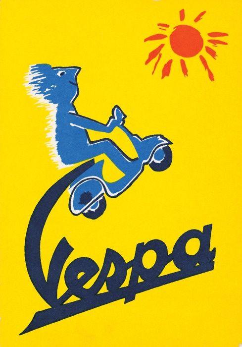 Poster for Vespa - Raymond Savignac  - #illustration  #RaymondSavignac #vespa