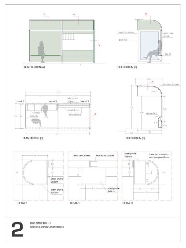 Plan Elevation Section Of Bus Stop : Bus stop bm architecture and models