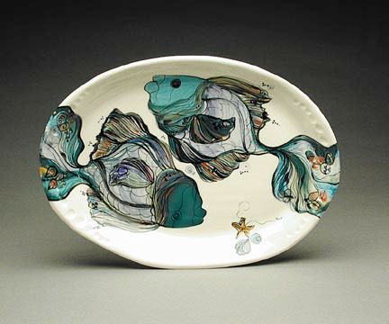 From the NASH gallery - large round hanging platter with two fish. $193