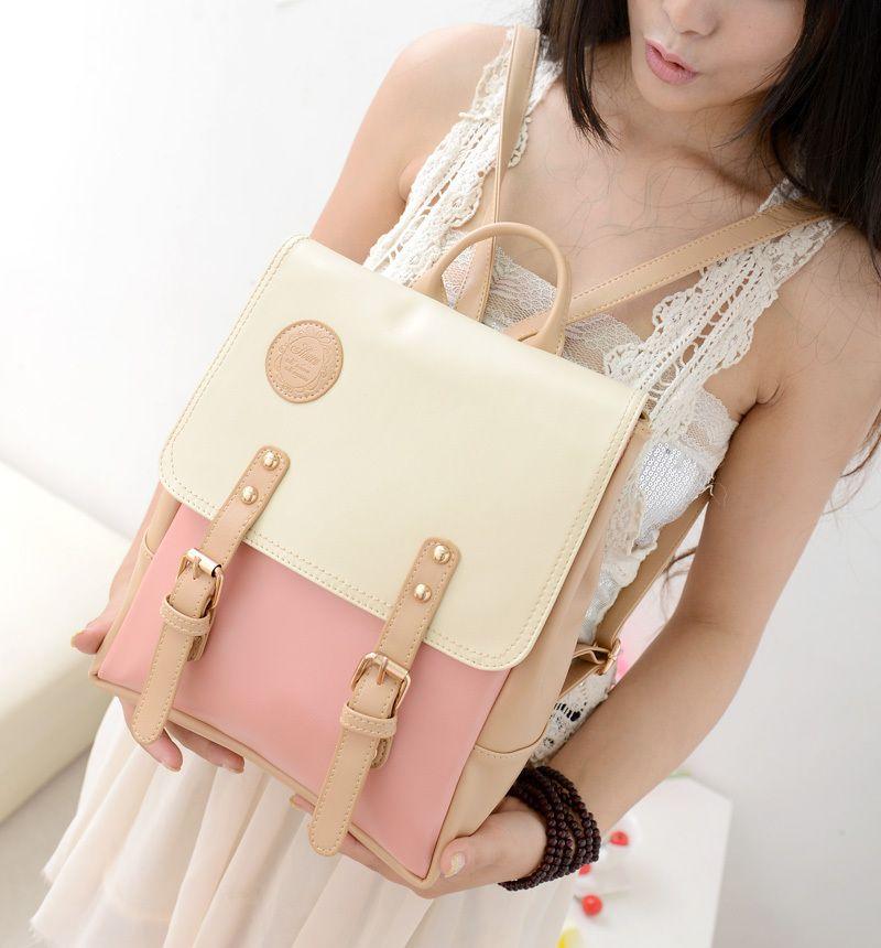 Autumn color block backpack bag student bag fashion vintage women's fashion handbag sweet backpack printing backpack