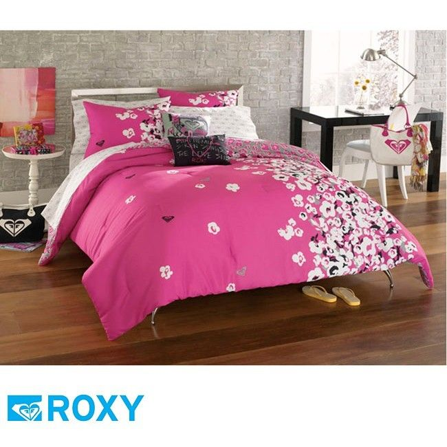 9PC ROXY MUSE TEEN GIRLS HOT PINK GRAY BLACK SURF COMFORTER SET Bed In BAg  Full