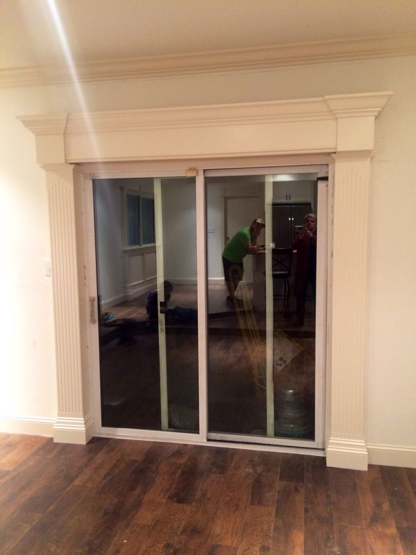 Finish Work Around Sliding Glass Door This Was Made From Sheets Of Mdf And Crown Molding Sliding Glass Door Sliding Glass Door Curtains Glass Door