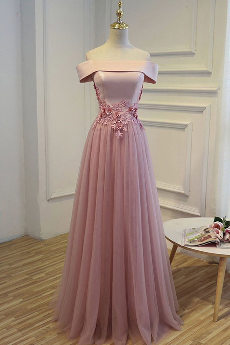 Aline off shoulder tulle long prom dress tulle bridesmaid dress