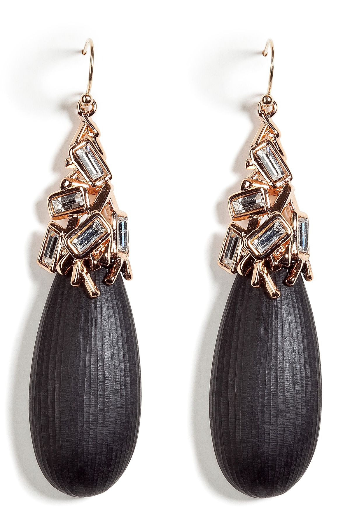 ALEXIS BITTAR Black Lucite earrings with encrusted ...