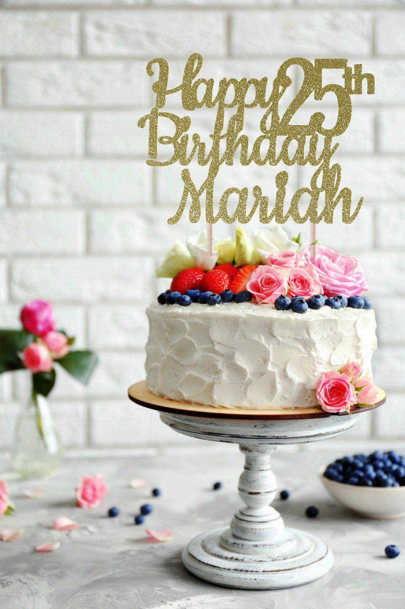 Terrific Any Name Happy Birthday Cake Topper 25Th Birthday Birthday Cake Personalised Birthday Cards Veneteletsinfo