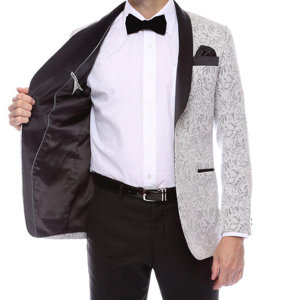 Shawl Colar 2 tone Paisley Blazer for Men Tuxedo Jacket slim fit run ...