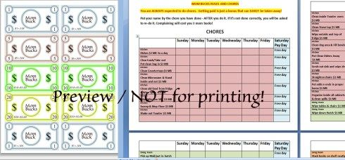 photograph relating to Mom Bucks Printable titled Mother Pounds Template and Chore Chart Do-it-yourself Initiatives