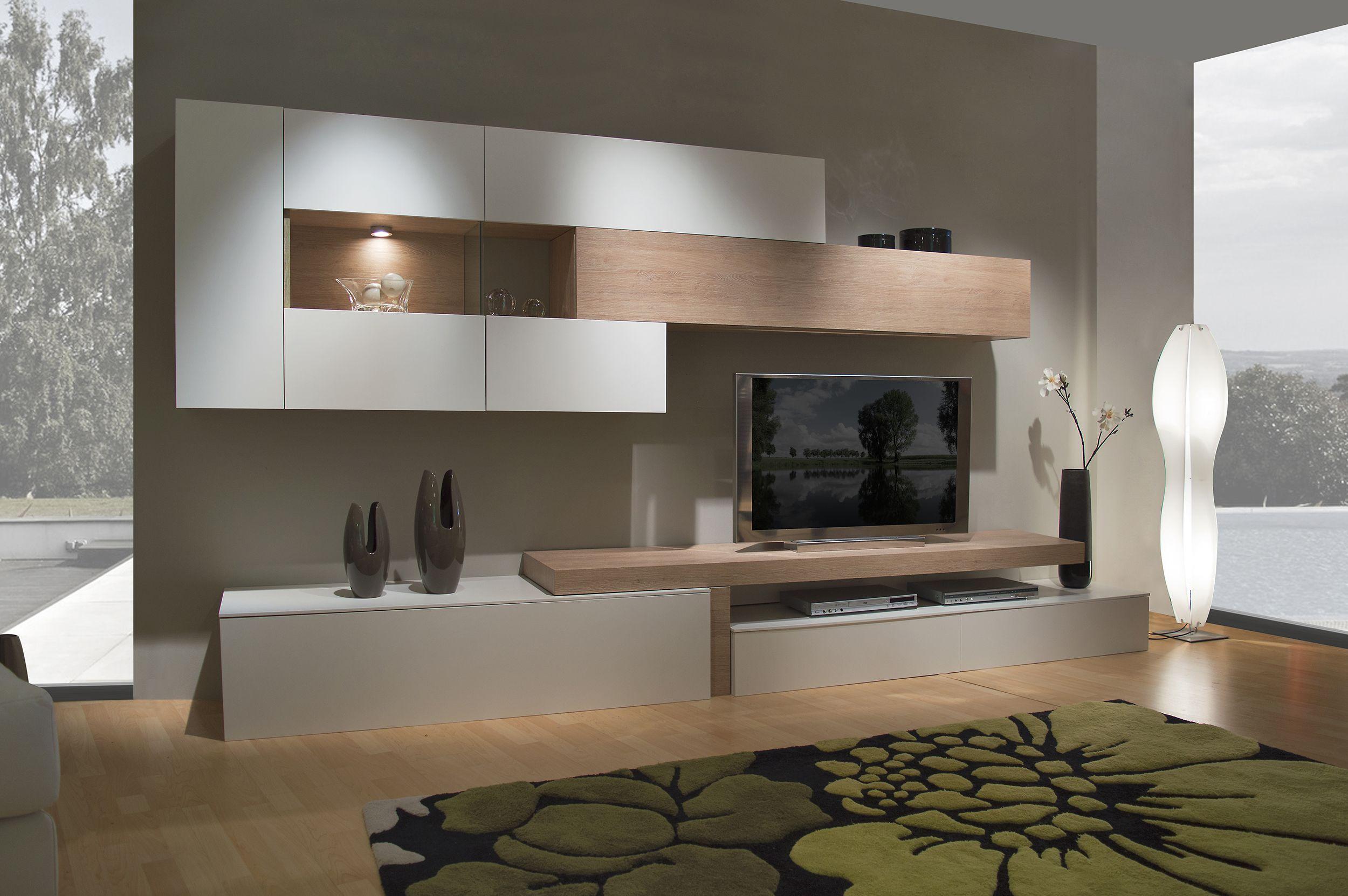 Este mueble de dise o mide 338 cm de largo y 45 cm de for Muebles para living comedor