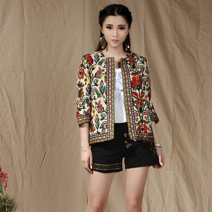 23cf97b10ff73 Cheap Mujer primavera y otoño chaqueta abrigo de la manga bordada etnico  estilo chaqueta mujer chaqueta delgada
