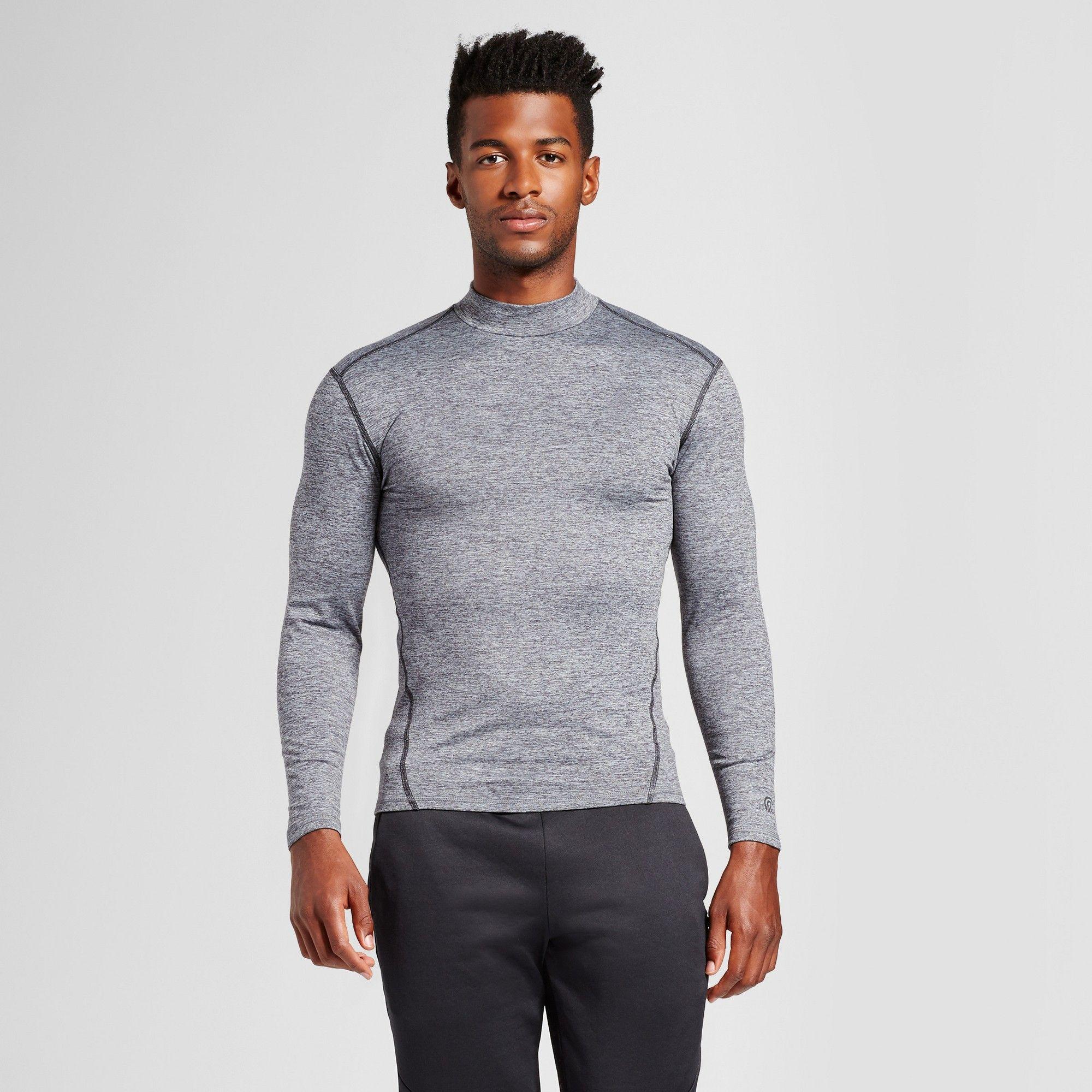 1b7ab82f0c9e Men's Long Sleeve Mock Neck Compression Shirt - C9 Champion Silver Xxl