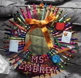 Crayon Wreath  Graduation Present for education major