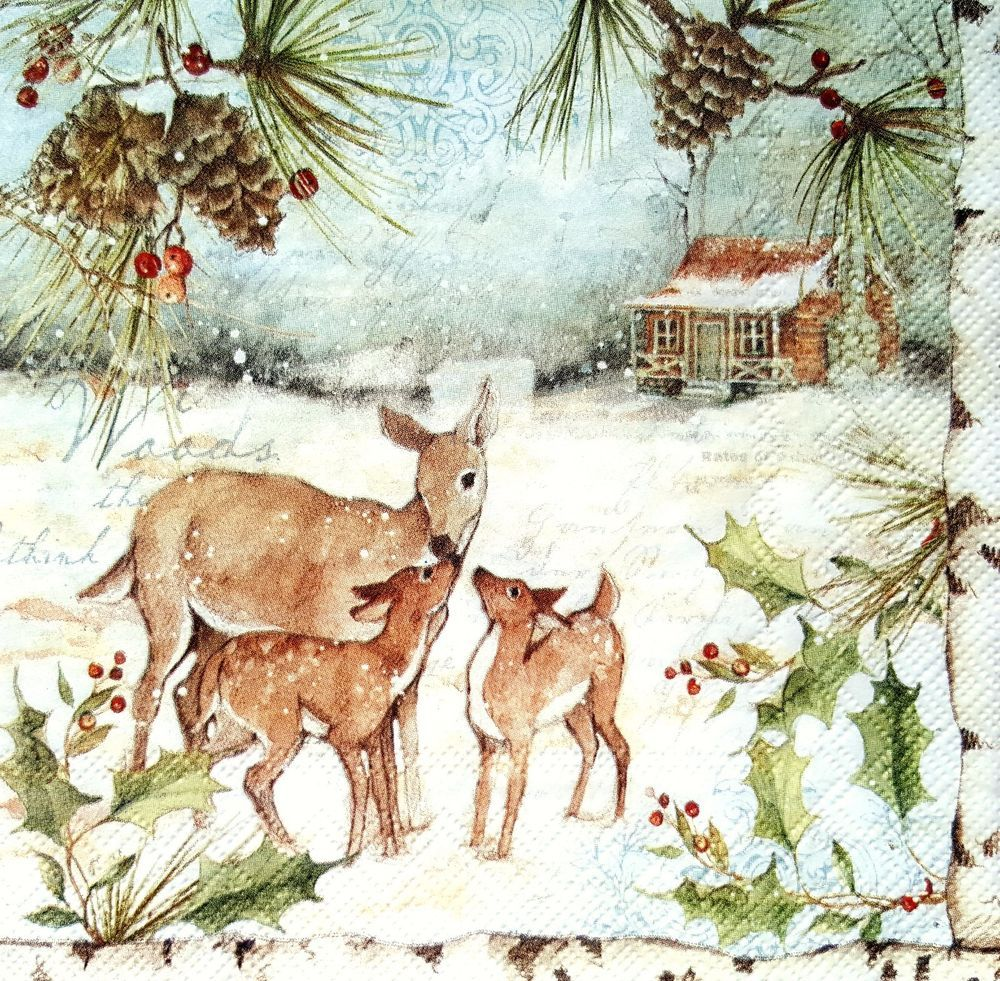 4 Vintage Paper Napkins for Decoupage Lunch Part Craft Napkin Christmas Woodland