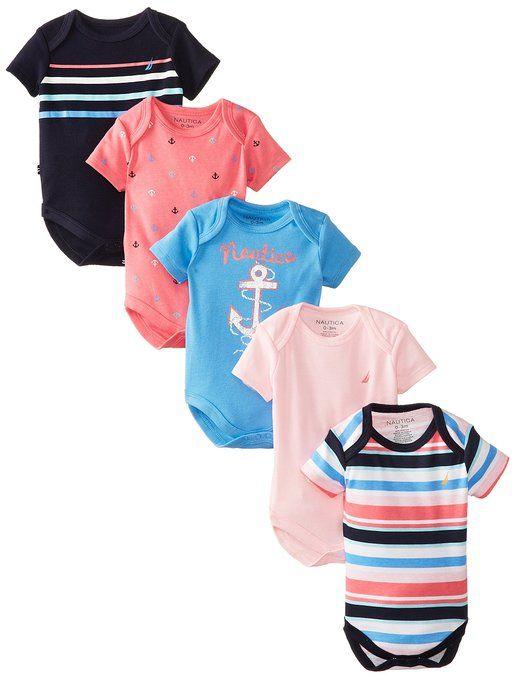 c94772be0e2ce Amazon.com: Nautica Baby Girls' 5 Pack Bodysuits: Clothing | Baby ...