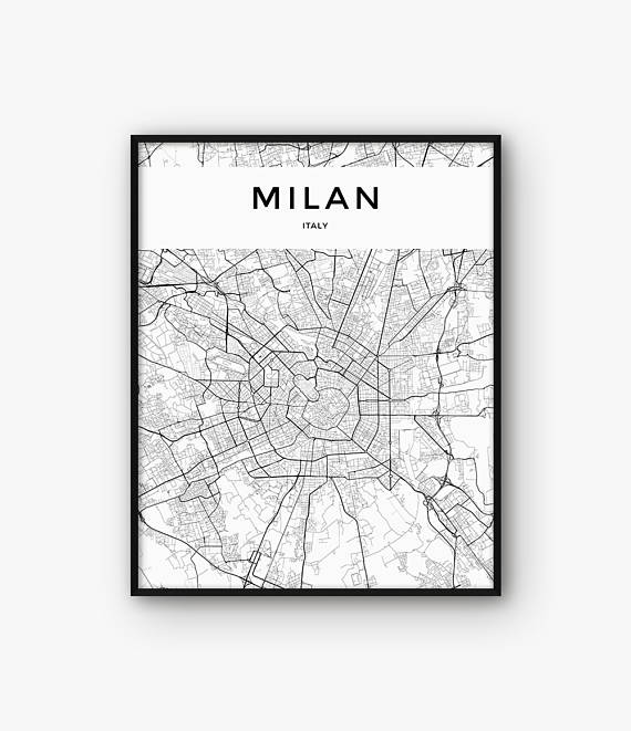 Milan Map Print, Milan Print, Milan Poster, Milan Wall Art, City Map ...