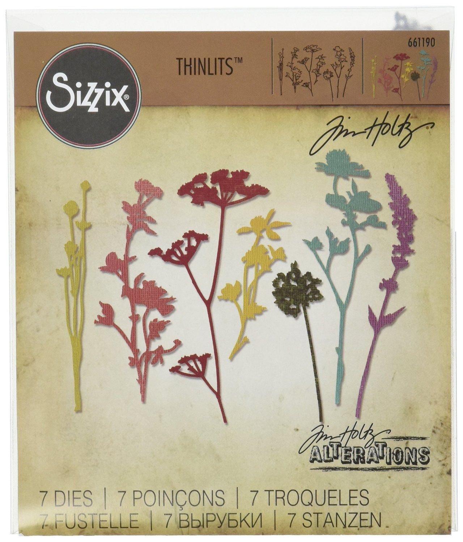 Tim Holtz Sizzix Thinlits Die ~ WILDFLOWERS ~ Alterations 661190