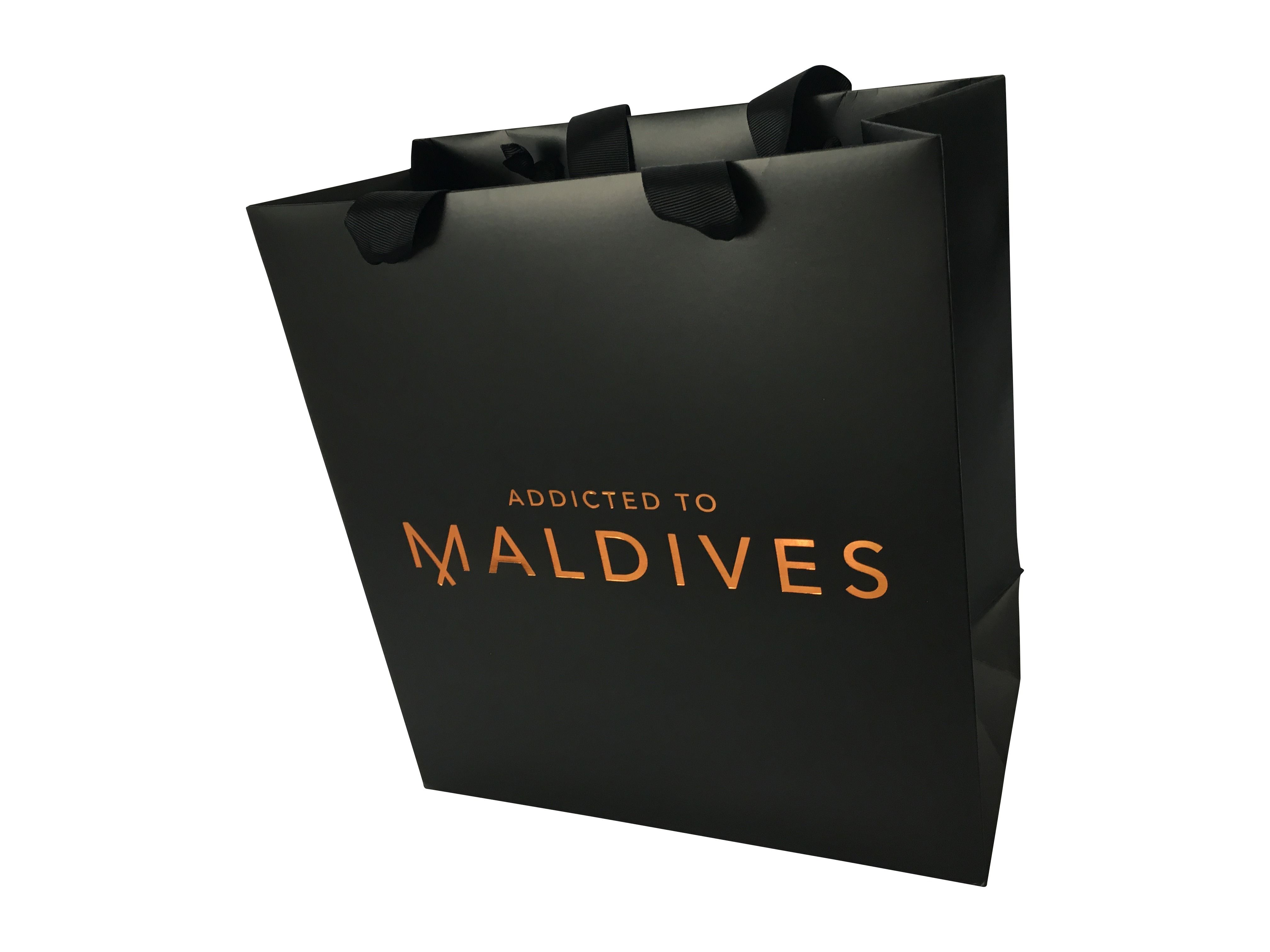 Luxury Event Gift Bag Black Matte Paper Bag With Grosgrain Ribbon