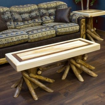 This Aspen Log Coffee Table Has A Walnut Inlay Ed In The Top And Legs Adorned With As Living Room Decor Furniture Rustic Living Room Furniture Log Coffee Table